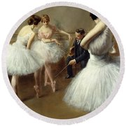 The Ballet Lesson Round Beach Towel