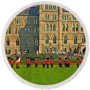 The Band Played On In Front Of Parliament Building In Ottawa-on Round Beach Towel