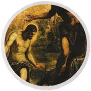 The Baptism Of Christ Round Beach Towel by Jacopo Robusti Tintoretto