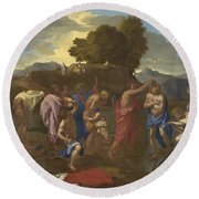 The Baptism Of Christ Round Beach Towel by Nicolas Poussin