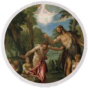 The Baptism Of Christ Round Beach Towel