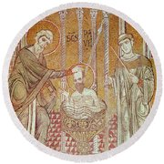 The Baptism Of St. Paul By Ananias, From Scenes From The Life Of St. Paul Mosaic Round Beach Towel