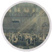 The Baptism Of The King Of Rome 1811-32 At Notre-dame, 10th June 1811, After 1811 Engraving Round Beach Towel
