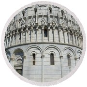 The Baptistery In Pisa  Round Beach Towel