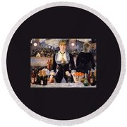 The Bar At The Folies-bergere Round Beach Towel