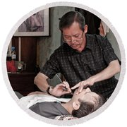 The Barber Shaves Another Customer 02 Round Beach Towel