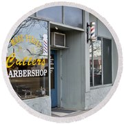 The Barber Shop 3 Round Beach Towel