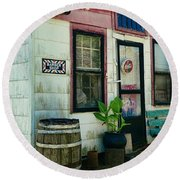 The Barber Shop From A Different Era Round Beach Towel by Paul Ward