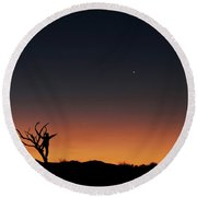 The Bare Tree And Human Figure Point Round Beach Towel