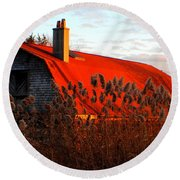 The Barn  At Sunset Round Beach Towel