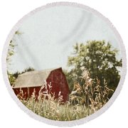 The Barn In The Distance Round Beach Towel
