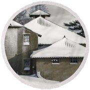 The Barns At Castle Hill After The Snow Round Beach Towel