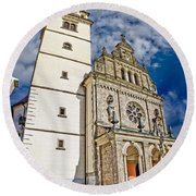 The Basilica In Mary Of Bistrica Round Beach Towel