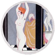 The Basin Round Beach Towel by Georges Barbier