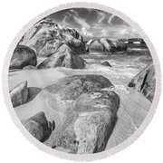 The Baths In Black And White Round Beach Towel
