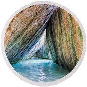 The Baths Virgin Gorda British Virgin Islands Round Beach Towel