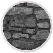 The Battery Wall In Black And White Round Beach Towel
