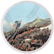 The Battle Of Alma On 20th September Round Beach Towel by Edmund Walker
