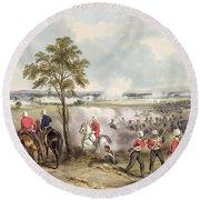 The Battle Of Goojerat On 21st February Round Beach Towel