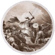 The Battle Of Hastings, Engraved Round Beach Towel