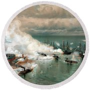 The Battle Of Mobile Bay Round Beach Towel