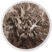 The Battle Of The Angels Round Beach Towel