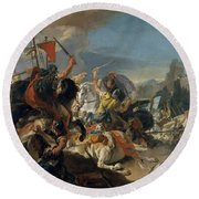 The Battle Of Vercellae Round Beach Towel