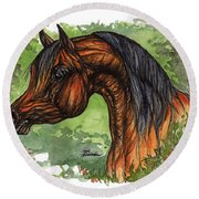 The Bay Arabian Horse 1 Round Beach Towel