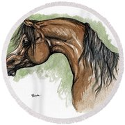 The Bay Arabian Horse 12 Round Beach Towel