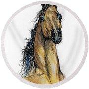 The Bay Arabian Horse 13 Round Beach Towel