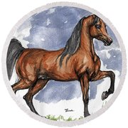 The Bay Arabian Horse 17 Round Beach Towel