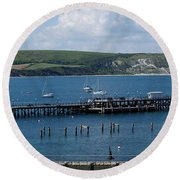 The Bay At Swanage Round Beach Towel
