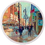 The Bay Department Store Downtown Montreal University And St Catherine Winter City Scene C Spandau  Round Beach Towel