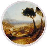 The Bay Of Baiae With Apollo And The Sibyl Round Beach Towel