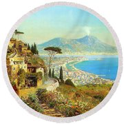 The Bay Of Naples Round Beach Towel