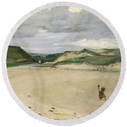 The Beach At Ambleteuse, 1869 Oil On Canvas Round Beach Towel