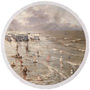 The Beach At Ostend Round Beach Towel