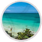 The Beach At The Tulum Ruins Round Beach Towel