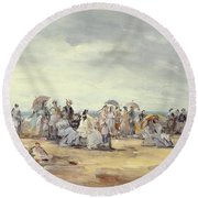 The Beach At Trouville, 1873 Round Beach Towel