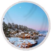 The Beach In December Round Beach Towel