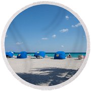 The Beach In Hollywood Florida Round Beach Towel