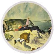 The Beach Newport Round Beach Towel by George Wesley Bellows