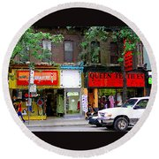 The Beadery Craft Shop  Queen Textiles Fabric Store Downtown Toronto City Scene Paintings Cspandau  Round Beach Towel