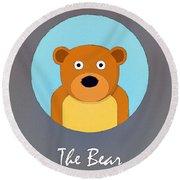 The Bear Cute Portrait Round Beach Towel