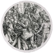 The Bearing Of The Cross From The 'great Passion' Series Round Beach Towel by Albrecht Duerer