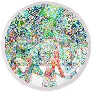 The Beatles - Abbey Road - Watercolor Painting Round Beach Towel