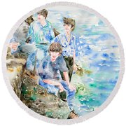 The Beatles At The Sea - Watercolor Portrait Round Beach Towel