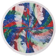 The Beatles Squared Round Beach Towel