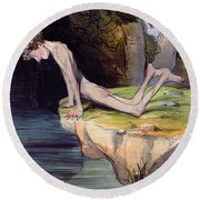The Beautiful Narcissus Round Beach Towel by Honore Daumier