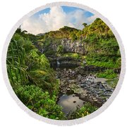 The Beautiful Scene Of The Seven Sacred Pools Of Maui. Round Beach Towel